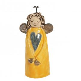 Ceramic angel with heart - yellow