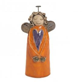 Ceramic angel with heart - orange