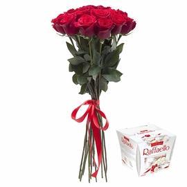 Bouquet 9 roses + Raffaello