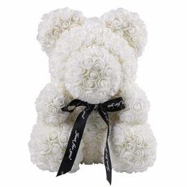 Rose Teddy Bear - White