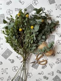 Eucalyptus with Craspedia