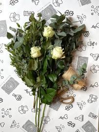 Eucalyptus + white roses