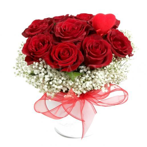 Roses in Red Satin - in ceramic pot