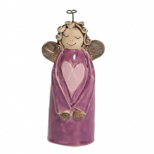 Ceramic angel with heart - violet