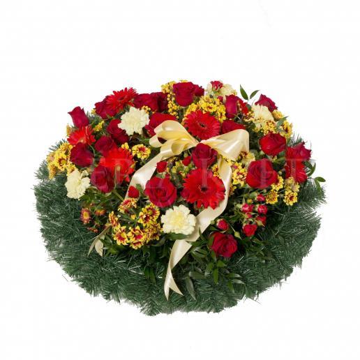 Round mourning wreath full of flowers - Nikdy nezabudneme