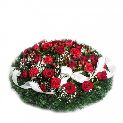 Round mourning wreath full of flowers - Navždy v srdci