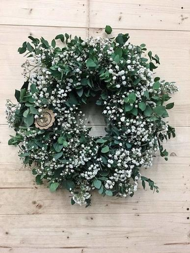 Wreath from white gypsophila and eucalypthus