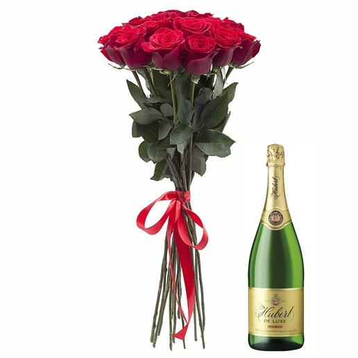 Bouquet 9 roses + Champagne